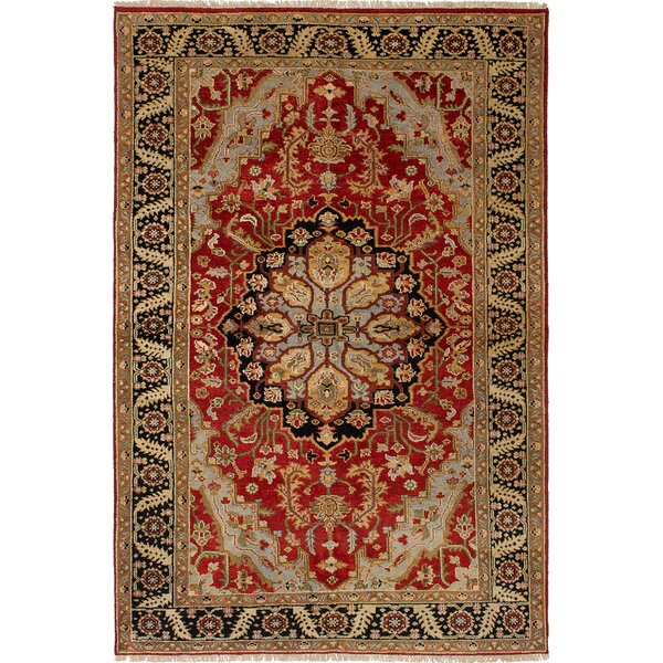 One-of-a-Kind Doerr Geometric Hand Knotted 100% Wool Red Area Rug by Isabelline